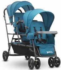 Joovy Big Caboose Graphite  Stand On Triple Baby Stroller Turquoise NEW 2016