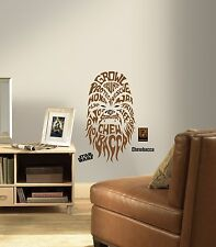 New Giant CHEWBACCA TYPOGRAPHY WALL DECALS Star Wars Stickers Brown Room Decor