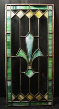 """Vintage Leaded Stained Glass Panel from Cabinet Door 14"""" X 30"""""""