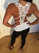 Sexy Off White Tank Top W/ cool lace back detail & Sheer layered Fabric One size