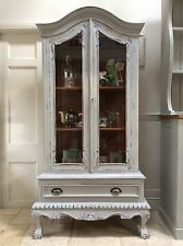 French Style Glazed Armoire Display Glass Cabinet Painted Grey Bookcase Bathroom