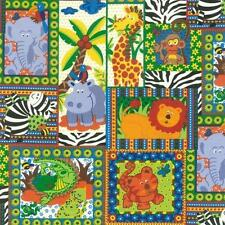 NUTEX PATCHWORK FABRIC - JUNGLE JIVE SQUARES - 88820 - 101