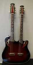 Ovation CSD-225 Celebrity Double Neck Acoustic-Electric Guitar Ruby Red Burst