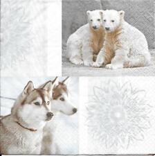 3 Servietten Napkins Tiere Eisbär Eisbärbaby´s Huskies Winter #571