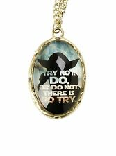 Disney Star Wars Yoda Necklace Try Not Do Or Do Not Cameo Pendant Necklace NWT