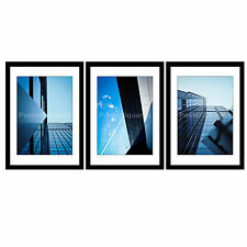 Architecture Skyscaper City Building Modern Set of 3 Framed Prints (ART PICTURE)