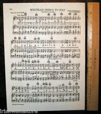 """WHITMAN COLLEGE Song c 1938 """"Whitman! Here's to You"""""""