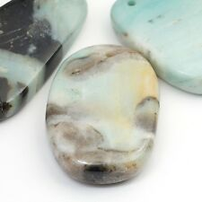 3 large front drilled amazonite pendants light blue semiprecious stone asst size