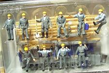HO Preiser 10220 TEN Construction Workers with Accessories :1/87 scale FIGURES