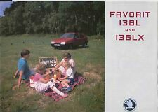 Skoda Favorit 136 L & LX 1989-92 Original UK Sales Brochure No. CSL-19