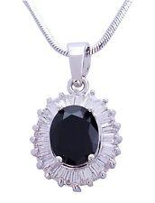 Magnifique Transparent Autrichien Cristal Plaqué Rhodium Ovales Noirs Style