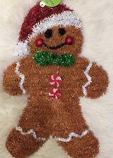 20 In L X 14 In W Tinsel Metal Ginger Bread Man Yard Door Fence Christmas Decor