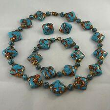 PARURE Vtg Venetian Turquoise Blue Copper Foil Glass Bead Necklace Bracelet Ears