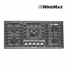 "34"" Stainless Steel Built-in 5 Burner Stoves Oven Gas Hob Cooktop Cooker - Black"