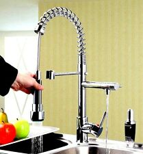 Brushed Double Pull Down Spray Kitchen Sink Faucet Swivel Spout Brass Mixer Tap