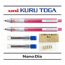 2 x Uni Kuru Toga 0.5mm Mechanical Pencil - Metallic Pink + 24 Leads + 5 Erasers