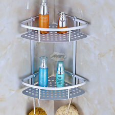 2 Tiers Triangular Shower Caddy Shelf Bathroom Corner Rack Storage Holder Hanger