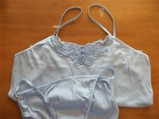 AVON CAMISOLE & PANTY SET COTTON BUTTERFLY BLUE MED SPAGETTI STRAP NEW