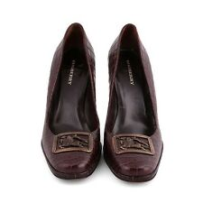 BURBERRY BROWN CROCO PUMPS SHOES PRORSUM BUCKET SIZE 39 1/2 6 1/2  US 9 1/2