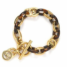 "Tortoise Shell Gold Plated Metal Link Bracelet 8.5"" Ring & Toggle Closure"
