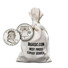 90% Silver Coins $100 Face Value Bag in Circulated Franklin Half Dollars