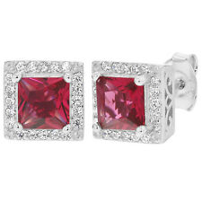925 Sterling Silver Red & Clear CZ Square Bezel Stud Women's Earrings