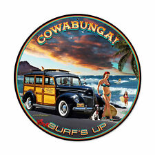 Cowabunga Surfs Up Pin Up Woodie Surfer Beach Retro Sign Blechschild Schild NEU