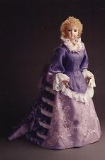 "31""ANTIQUE FRENCH FASHION LADY DOLL@1872 BUSTLE BALL/EVENING GOWN/DRESS PATTERN"