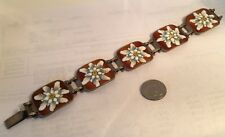 Vintage Deco Hand Painted Enameled .800 Silver Panel Bracelet