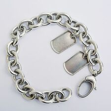 HEAVY Sterling Silver Chunky Bracelet 2 x Dog Tags by GUCCI/ 55 Grams
