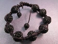 Black Shamballa 12mm Bracelet 1pc