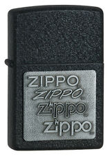 Zippo Windproof Black Crackle Lighter With Pewter Zippo Emblem  363, New In Box