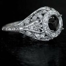 ART DECO HALO MOUNT ROUND ENGAGEMENT DIAMOND SETTING WHITE GOLD ANTIQUE RING