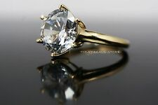3 CT roung cut engagement wedding VVS/D ring new yellow real gold 14k