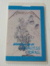 METALLICA Laminated Backstage Tour Pass - Damaged Justice World Tour 1988-89