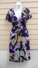 LADIES FLORAL MULTI PRINT KNEE CHIFFON LENGTH PARTY SIZE 10 BNWT