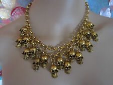 Skulls Multi Layer Pirate Statement Necklace Collar FAST SHIPPING FROM USA
