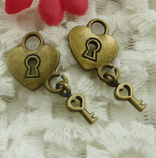 free ship 180 pieces bronze plated lock key charms 25x13mm #2124
