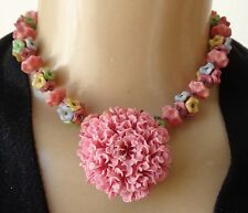 Vintage Pastel Italian Glass Flower Cluster Necklace & Pink Celluloid Brooch Lot