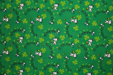 Cotton Craft St Patricks Day Snoopy Print Fabric Material (Greens)