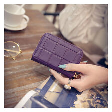 Women's Leather Short Wallet ID/Credit Card Holder Purse Wallet Mini Case Purple