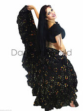 Black Polka Dot Tribal gypsy 25 yards  belly dance folk cotton skirt ATS L37""
