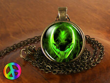 Handmade Space Alien Universe UFO Glass Pendant Galaxy Necklace Jewelry Gift