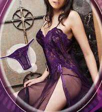 Women's Sexy Lingerie Nighty Lace Sleepwear Dress Babydoll Plus Size +G-String