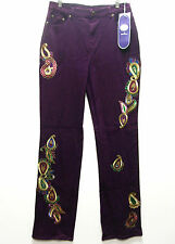DG2 Embroidered Paisley and Jewels Boot-Cut Jeans PURPLE 4T 4 Tall NWT