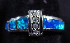 Silver 925 Filled Size 7 Ring Blue Lab Fire Opal & White Topaz Accent Stones