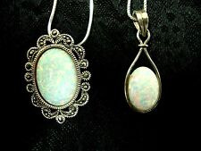 SET OF 2 925 STERLING SILVER MARCASITE OVAL OPAL PENDANT NECKLACES NEWLY TAGGED!