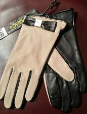 KATE SPADE NEW YORK TOUCHPOINT GLOVES CREAM/ BLACK BOW AND CLASSIC LOGO SIZE 7