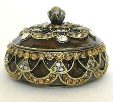 NEW BROWN GOLD BRASS+ORANGE CRYSTAL GEMS JEWELRY BOX+CONTAINER,LID+BOX J-2055