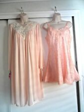 NWT SHADOWLINE ROBE & NWT VICTORIA'S SECRET NIGHTGOWN~LACE~PEACH - SIZE LARGE